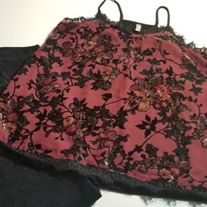 Velour feel floral blouse with spaghetti straps